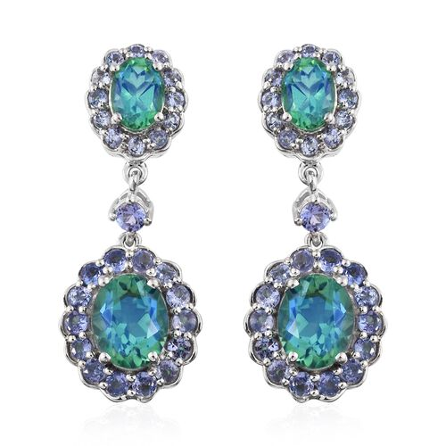 Peacock Quartz (Ovl), Tanzanite Dangling Earrings (with Push Back) in Platinum Overlay Sterling Silv