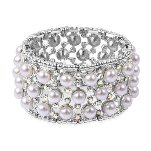 Simulated Pearl and Multi Colour Crystal Stretchable Bracelet (Size 7) in Silver Plated