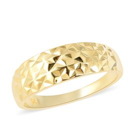 Designer Inspired- Yellow Gold Overlay Sterling Silver Diamond Cut Ring (Size N)