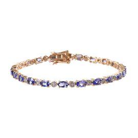 9K Yellow Gold Tanzanite (Ovl 5x3 mm), Diamond Bracelet (Size 7) 6.15 Ct, Gold wt 6.60 Gms