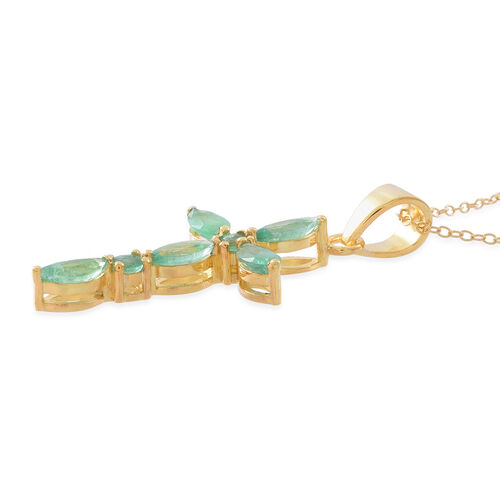 Kagem Zambian Emerald (Mrq) Cross Pendant with Chain in 14K Gold Overlay Sterling Silver 2.000 Ct.