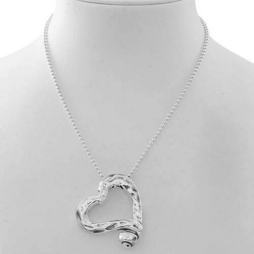 Designer Inspired-Sterling Silver Heart Pendant With Chain (Size 18), Silver wt 18.40 Gms.