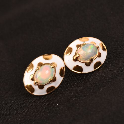 Ethiopian Welo Opal Enamelled Stud Earrings (with Push Back) in 14K Gold Overlay Sterling Silver 1.25 Ct.