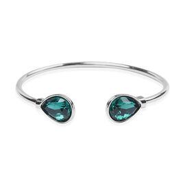 Simulated Emerald Cuff Bangle (Size 7.5) in Silver Tone