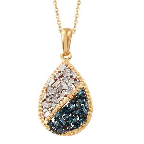 Blue and White Diamond (Rnd and Bgt) Pendant With Chain (Size 20) in 14K Yellow Gold Overlay with Bl