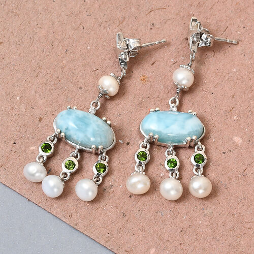 GP - Larimar, Freshwater Pearl and Multi Gemstone Earrings (with Push Back) in Platinum Overlay Sterling Silver 16.50 Ct, Silver wt 5.21 Gms