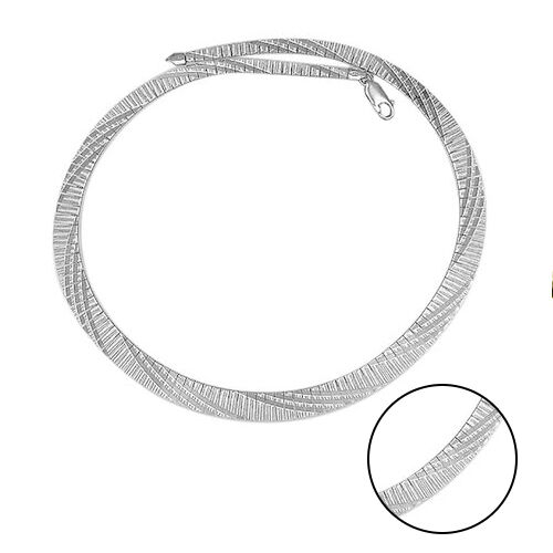 Cubetto Chain in Rhodium Plated Sterling Silver 17.5 Inch