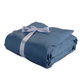 Vegan Silk 4 Pcs. 100% Bamboo Bedding Set in Size DOUBLE - Colour Blue - (1 Fitted + 1 Flat Sheet &