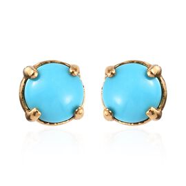 Arizona Sleeping Beauty Turquoise (Rnd) Stud Earrings (with Push Back) in 14K Gold Overlay Sterling