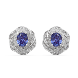 ELANZA Simulated Tanzanite and Simulated Diamond Earrings (with Push Back) in Rhodium Overlay Sterli