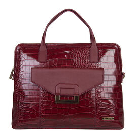 Bulaggi Collection - Cynthia Croco Print Laptop Bag with Slip Pocket at Front (40x31x06cm) - Burgund