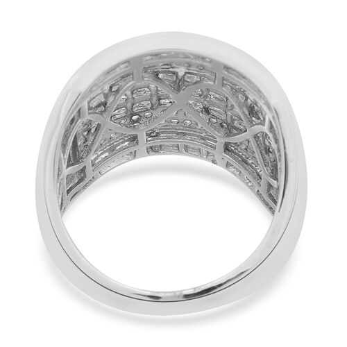 Diamond (Bgt) Ring in Platinum Overlay Sterling Silver 1.500 Ct. Silver wt 7.52 Gms. Number of Diamonds 212