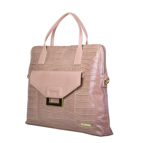 Bulaggi Collection - Cynthia Croco Print Laptop Bag with Slip Pocket at Front (40x31x06cm) - Dusty Pink