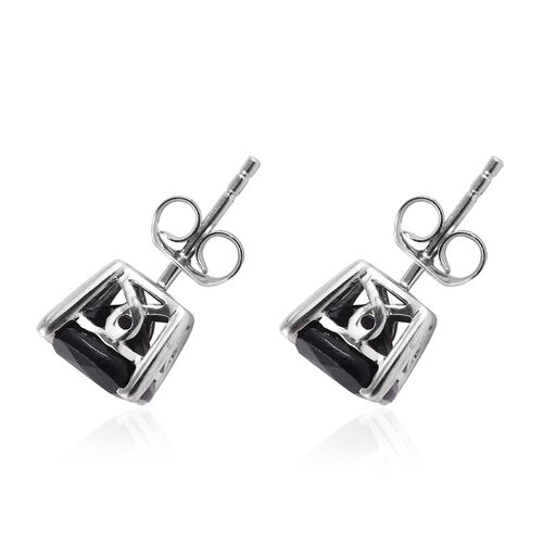 Black Tourmaline (Cush) Stud Earrings (with Push Back) in Platinum Overlay Sterling Silver 4.500 Ct.