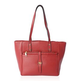 100% Genuine Leather Burgundy Colour Tote Bag with External Zipper Pockets (Size 37x27x24x13.5 Cm)
