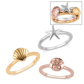 Set of 3 - Platinum, Yellow and Rose Gold Overlay Sterling Silver Star Fish, Shell and Floral Stacke