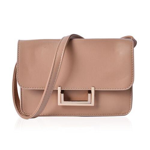 Beige Colour Crossbody Bag With Shoulder Strap (Size 20.5x15x6 Cm)
