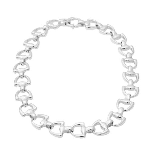 Snaffle Chain Necklace with Senorita Clasp in Sterling Silver 50.05 Grams 20 Inch