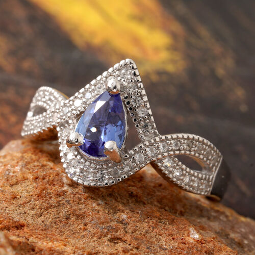 Tanzanite (Pear 7x5 mm, 0.58 Ct), Natural Cambodian Zircon Halo Crossover Ring in Platinum Overlay Sterling Silver 1.000 Ct.