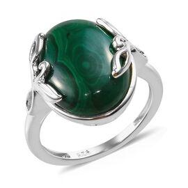Malachite (Ovl 16x12 mm) Ring in Sterling Silver 10.00 Ct.