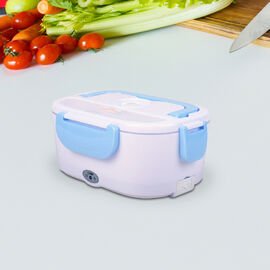 Portable Electric Heating Lunch Box in White & Light Blue (Size:23.5x16.5x10.5cm)