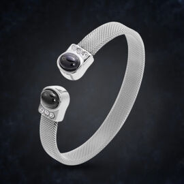 Boi Ploi Black Spinel and White Austrian Crystal Cuff Bangle (Size 7) in Stainless Steel