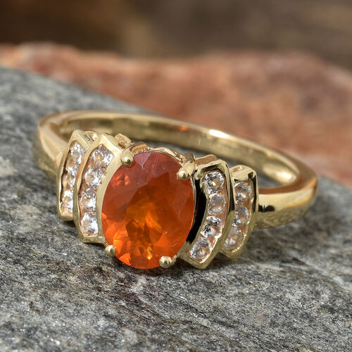 9K Yellow Gold AAA Jalisco Fire Opal (Ovl), Natural Cambodian Zircon  Ring 1.250 Ct.