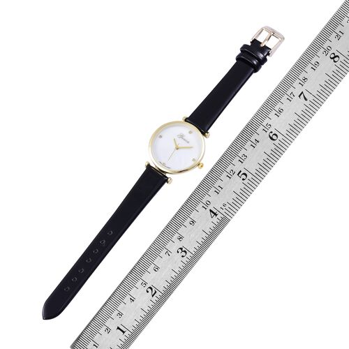GENOA Diamond Studded MOP Dial Watch with Black Colour Strap