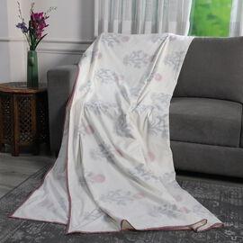 Reversible Hand Block Printed Cotton Muslin Dohar Summer Blanket -Red Flower Design