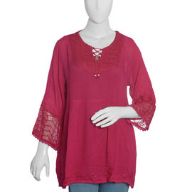 Fuschia Colour Top with Embroidery (Free Size 81x58.5x50 Cm)