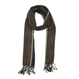 Metallic Stripe Pattern Scarf with Tassels (Size 70x180 Cm) - Black
