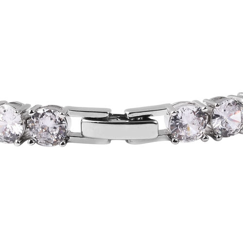 Simulated Champagne Diamond and Simulated Diamond Bracelet (Size 7.5) in Silver Tone