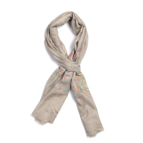 100% Cashmere Wool Jacquard Feather Grey Colour Scarf (Size 200x70 Cm)