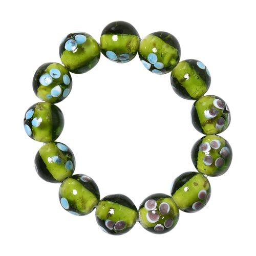 Millefiori Collection- Green Colour Murano Style Glass Stretchable Beads Bracelet (Size 7)
