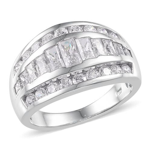 J Francis - Platinum Overlay Sterling Silver (Bgt) Ring Made with SWAROVSKI ZIRCONIA. Silver wt. 6.00 Gms.