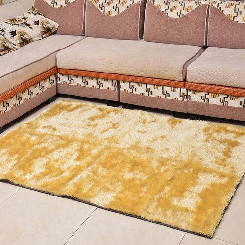 Super-Plush Extra-Long Pile Beige Colour Lounge Carpet (Size 200x140 Cm)