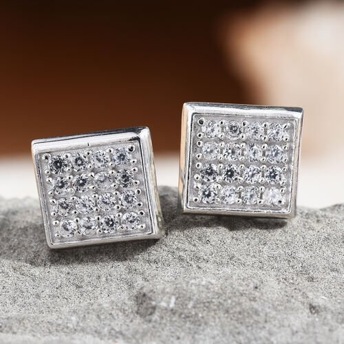 Natural White Cambodian Zircon (Rnd) Earrings (with Push Back) Platinum Overlay Sterling Silver   0.750  Ct.