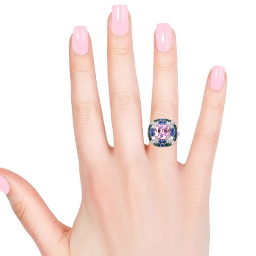 Lustro Stella Simulated Pink Sapphire (Oct), Simulated Emerald, Simulated Diamond and Simulated Blue Sapphire Ring in Rhodium Overlay Sterling Silver