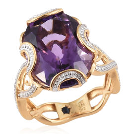 GP African Amethyst (Ovl 8.48 Ct), Kanchanaburi Blue Sapphire Ring in 14K Gold Overlay Sterling Silver 8.500 Ct.