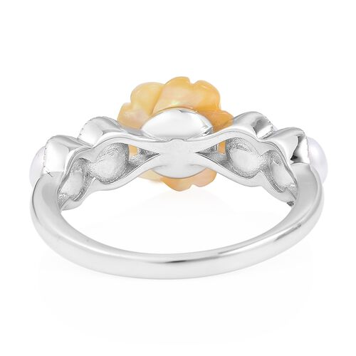 Fresh Water Pearl (2.25 Ct),Yellow Mother of Pearl Sterling Silver Ring  4.250  Ct.