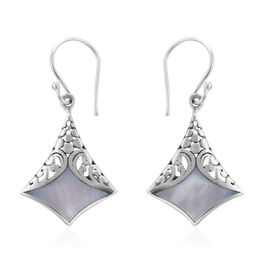 Royal Bali Collection Mother of Pearl Filigree Design Hook Earrings in Sterling Silver