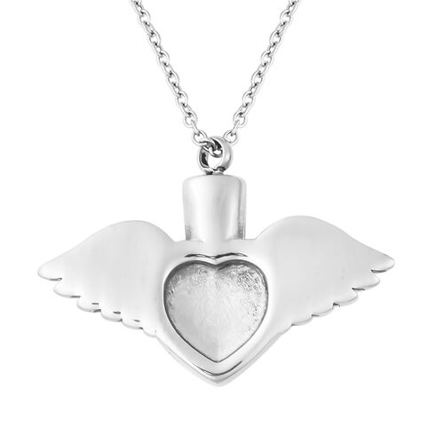 2 Piece Set - White Austrian Crystal Memorial Wing Heart Pendant with Chain (Size 20) and Funnel with Needle in Stainless Steel
