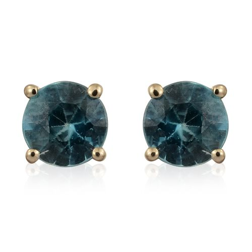 1 Carat AA Blue Zircon Solitaire Stud Earrings in 9K Gold (with Push Back)