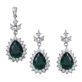ELANZA Simulated Emerald (Pear 13x10 mm), Simulated Diamond Drop Dangle Earrings (with Push Back) and Pendant in Rhodium Overlay Sterling Silver, Silver wt 7.00 Gms.