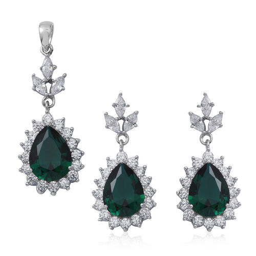 2 Piece Set - ELANZA Simulated Emerald (Pear 13x10 mm), Simulated Diamond Drop Dangle Earrings (with