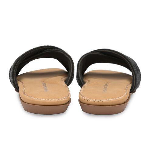 Dunlop Embellished Open Toe Slip on Flat Slider Sandals (Size 4) - Black
