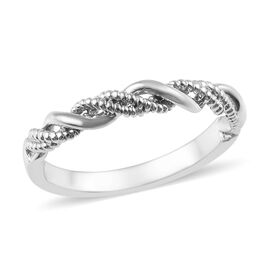 WEBEX- Platinum Overlay Sterling Silver Band Ring