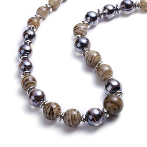 Black Murano Bead, Grey Murano Bead Hook Earrings, Stretchable Bracelet (Size 7) and Necklace (Size 20 with 3 inch Extender) in Stainless Steel
