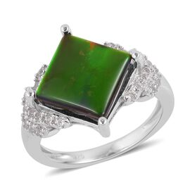 3.75 Ct AA Canadian Ammolite and Zircon Soltaire Ring in Rhodium Plated Silver