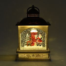 Decorative Lantern Glitter Spinner Santa Claus with Deer (Size 13x22 Cm) - Copper and White (3xAA Ba